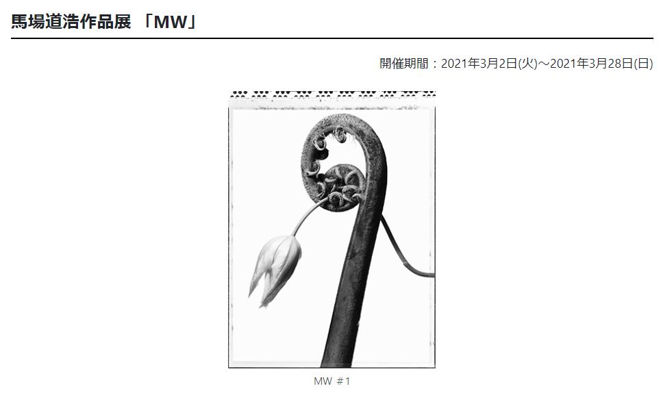 「馬場道浩作品展 「MW」」日本カメラ博物館