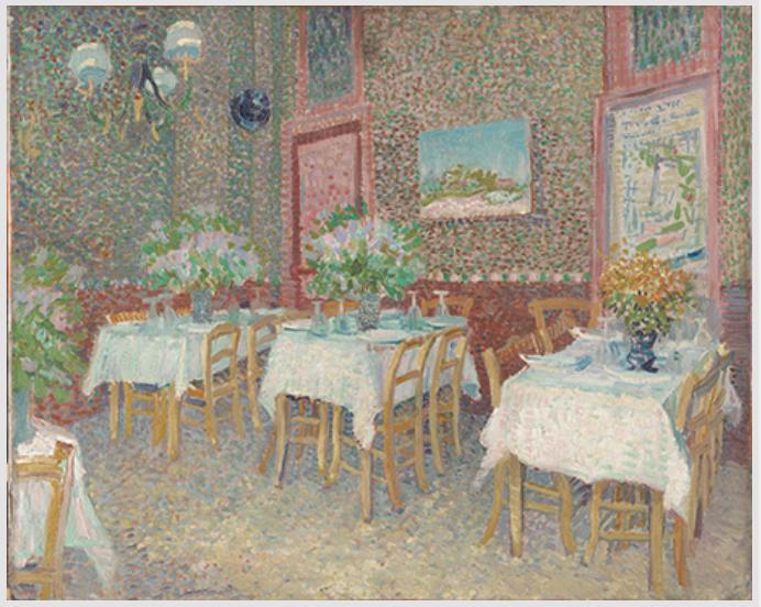 フィンセント・ファン・ゴッホ《レストランの内部》1887年夏 油彩、カンヴァス クレラー=ミュラー美術館  © Kröller-Müller Museum, Otterlo, The Netherlands