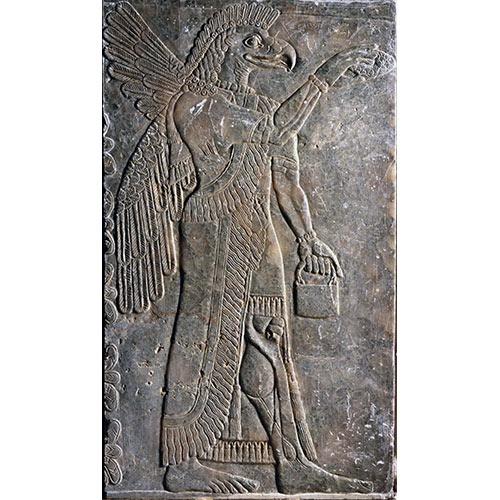 有翼鷲頭精霊像浮彫ゆうよくしゅうとうせいれいぞううきぼり イラク ニムルド遺跡出土 前875 - 前860年頃 新アッシリア時代 彫刻
