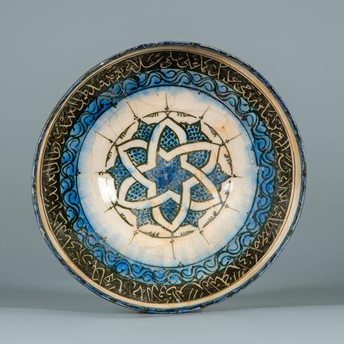 釉下黒彩台付鉢ゆうかこくさいだいつきはち イラン 13世紀前半 セルジューク朝~イル・ハーン朝時代 陶器