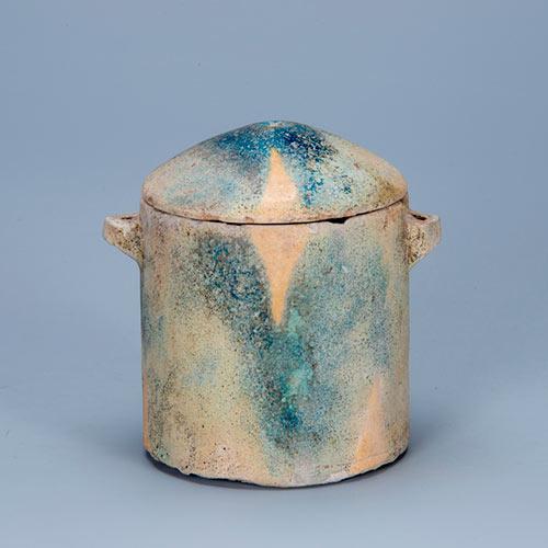 施釉蓋付円筒形容器せゆうふたつきえんとうけいようき イラン北西部 前8 - 前6世紀 鉄器時代 ファイアンス