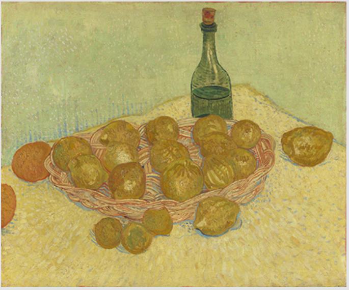 フィンセント・ファン・ゴッホ《レモンの籠と瓶》1888年5月 油彩、カンヴァス クレラー=ミュラー美術館 © Kröller-Müller Museum, Otterlo, The Netherlands