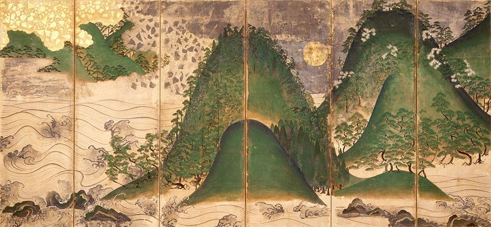 木が踊り、山が歌う!日本の四季を大胆に描いた傑作! 国宝 《日月山水図屏風じつげつさんすいずびょうぶ》右隻 室町時代 大阪・金剛寺 [展示期間:11月16日~12月5日]