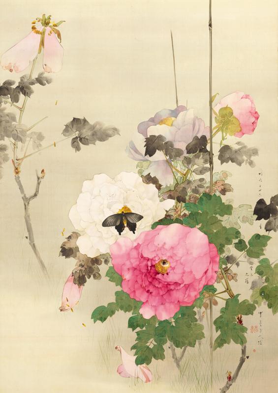 《牡丹に蝶の図》(部分)明治26年(1893) 個人蔵