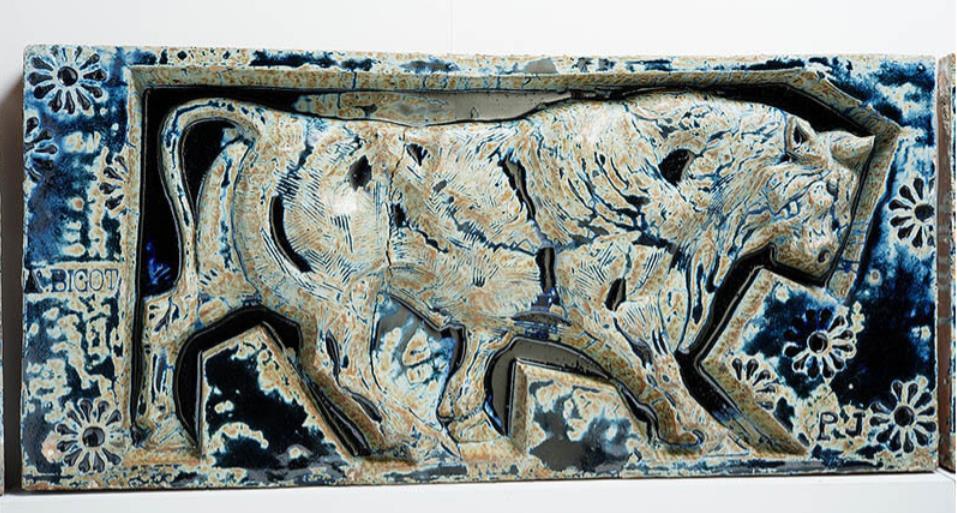 《牡牛図フリーズ装飾陶板(ビゴ・パビリオンの一部)》デザイン:ポール・ジューヴ ビゴ社 1898-1900年