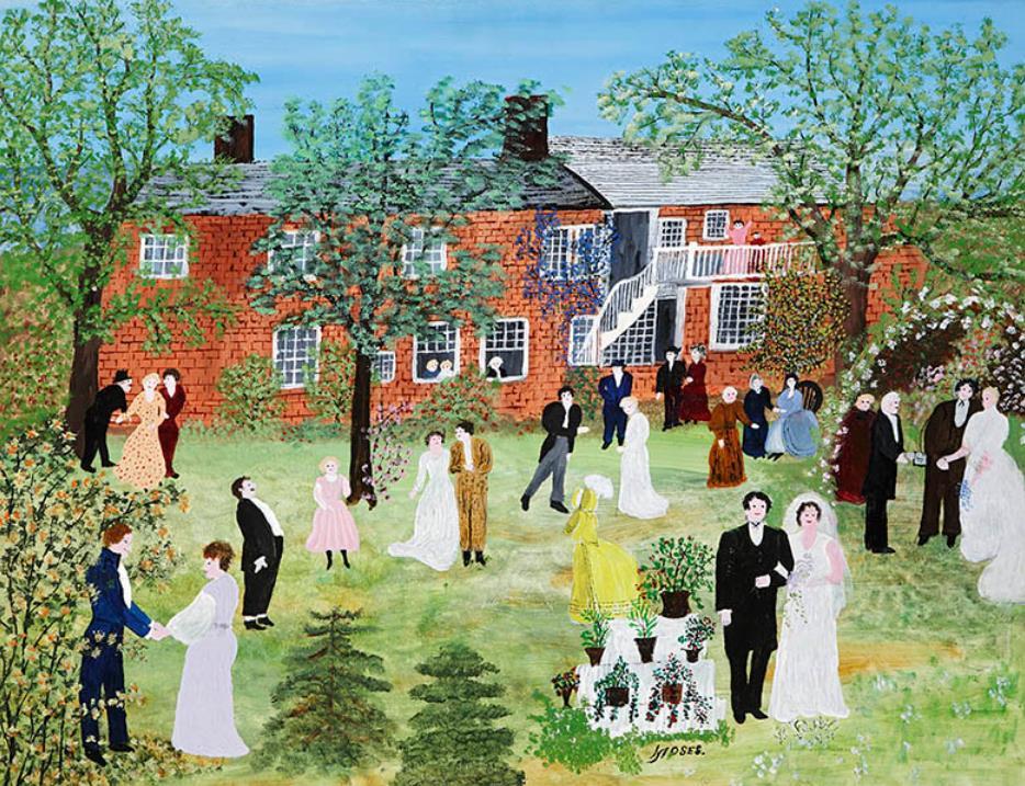 """アンナ・メアリー・ロバートソン・""""グランマ""""・モーゼス 《村の結婚式》 1951年 ベニントン美術館 ©2021, Grandma Moses Properties Co., NY"""