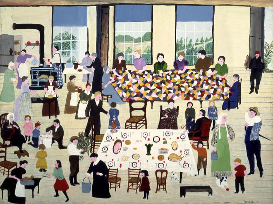 """アンナ・メアリー・ロバートソン・""""グランマ""""・モーゼス 《キルティング・ビー》 1950年 個人蔵(ギャラリー・セント・エティエンヌ、ニューヨーク寄託) ©2021, Grandma Moses Properties Co., NY"""