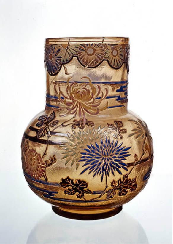 《菊花文花器》エミール・ガレ 1896年頃 ブダペスト国立工芸美術館蔵