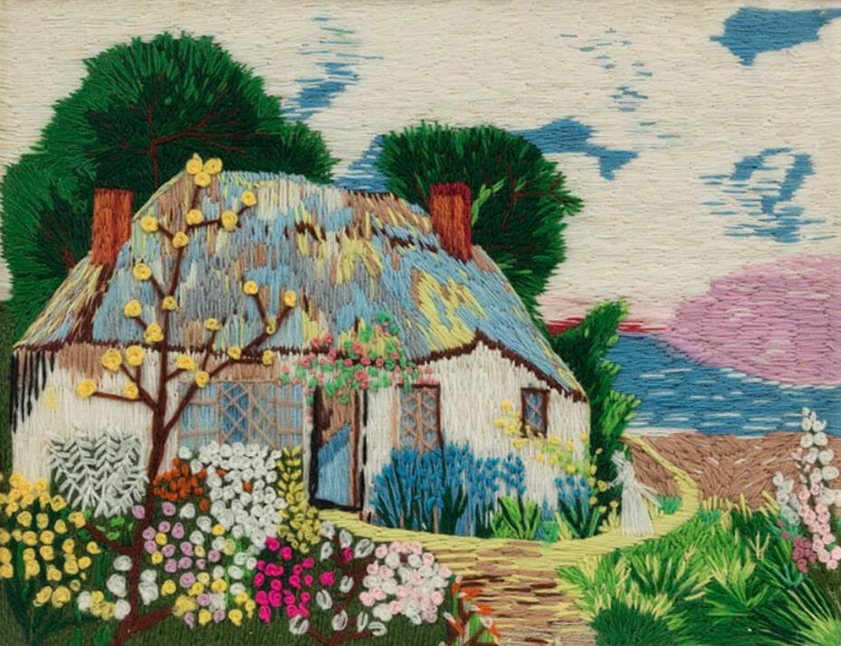 """アンナ・メアリー・ロバートソン・""""グランマ""""・モーゼス 《海辺のコテージ》 1941年 個人蔵(ギャラリー・セント・エティエンヌ、ニューヨーク寄託)  ©2021, Grandma Moses Properties Co., NY"""