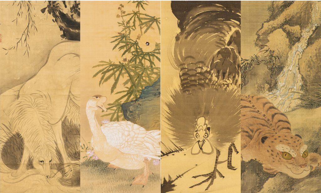 嵯峨嵐山文華館ではよりわかりやすく、若冲・応挙・芦雪・呉春など、18世紀から19世紀にかけて活躍した画家の絵画を、孔雀や虎といった画題ごとに並べて展示いたします。