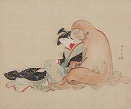 勝川春章 《美人と達磨》 天明7~8年(1787-88)頃 絹本着色一幅