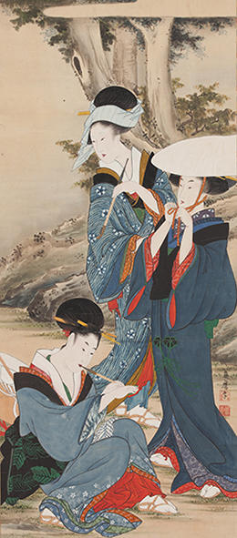 藤麿 《旅の女》 享和(1801-04)~文化年間(1804-18)前期頃 紙本着色一幅