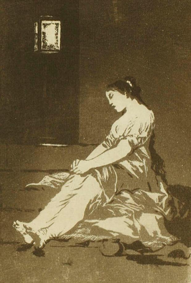 フランシスコ・デ・ゴヤ 『 ロス・カプリチョス 』より《感じ易かったために》 1799年刊 凹版・銅版(アクアチント)