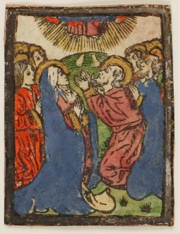 推定制作地ネーデルラント 《キリストの昇天》16世紀初頭 凸版・木版(手彩色)