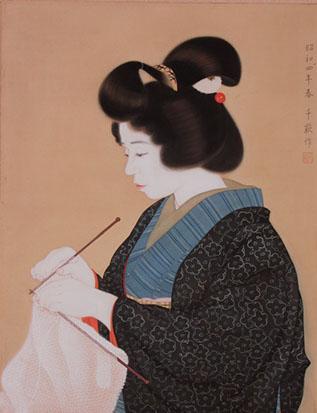 三露千萩《編み物》1929年(昭和4)