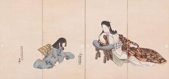 鰭崎英朋《春秋観花図屏風》1904年(明治37)