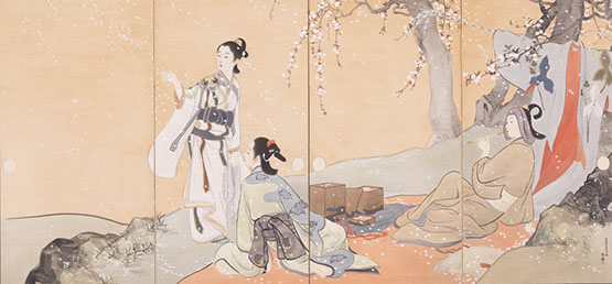 鰭崎英朋《春秋観花図屏風》1904年(明治37)1