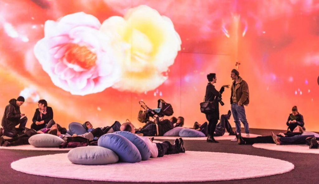 《マーシー・ガーデン・ルトゥー・ルトゥー/慈しみの庭へ帰る》2014年 マルチチャンネル・ヴィデオ・インスタレーション(15分14秒) クンストハレ・クレムスでの展示風景、2015年 Photo: Lisa Rastl © Pipilotti Rist, All images courtesy the artist, Hauser & Wirth and Luhring Augustine