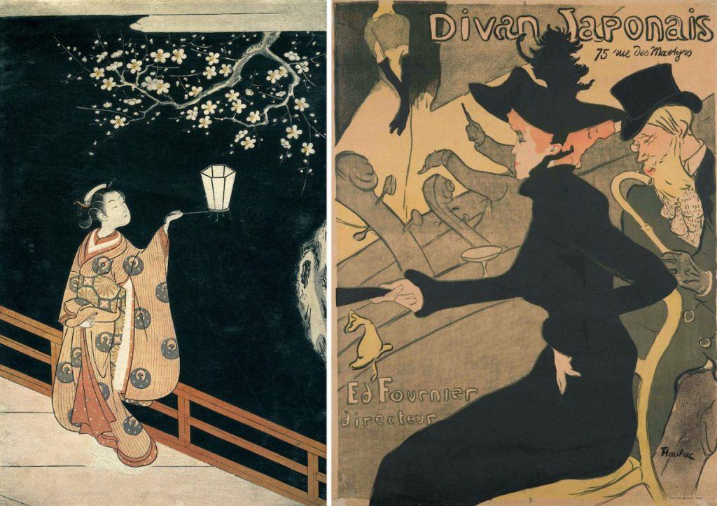左:鈴木春信《夜の梅》明和3年(1766)頃 メトロポリタン美術館蔵 右:アンリ・ド・トゥールーズ=ロートレック《ディヴァン・ジャポネ》1893年 ジマーリ美術館蔵
