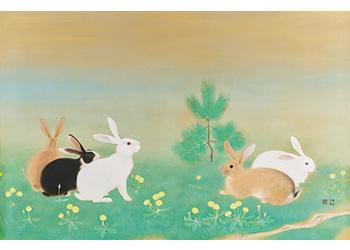 兎春野に遊ぶ 1938年(昭和13) 京都府立堂本印象美術館蔵