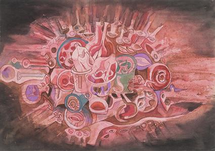 《題名不詳》1964年 紙・水彩、インク、鉛筆