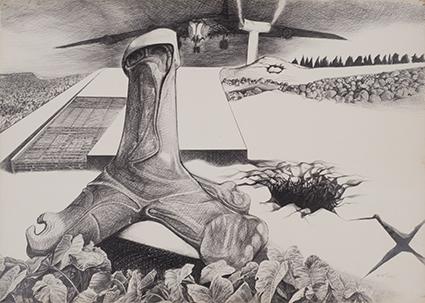《穴B》1971年 紙・ボールペン