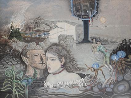 《弊える沼で》1978年 キャンバス・油彩