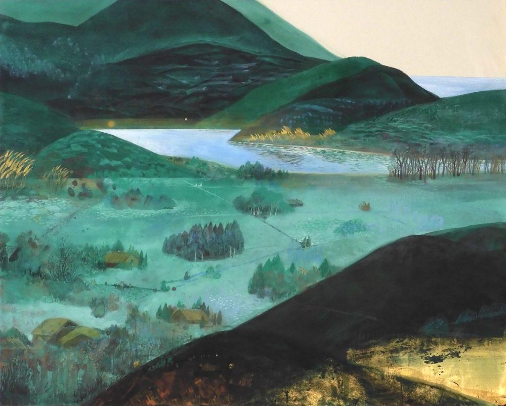奥村美佳「かくれ里」 2020(令和2)年 「第10回石州和紙に描いた日本画展」出品作品
