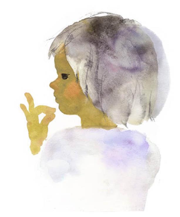 いわさきちひろ くちもとに指をそえた少女『あめのひのおるすばん』(至光社)より 1968年