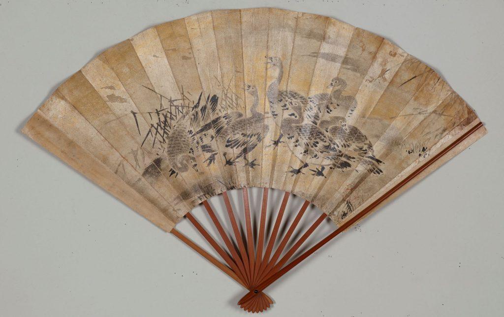 芦雁 図扇面 (東京国立博物館蔵)【前期】