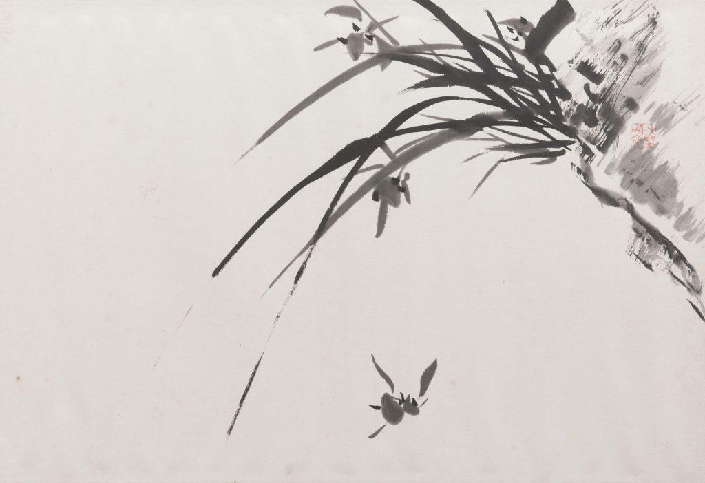 金井烏洲《四君子帖》(蘭図部分) 群馬県立歴史博物館蔵 前期展示