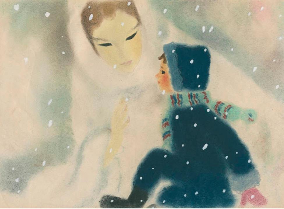 いわさきちひろ 雪の女王とカイ 紙芝居「雪の女王」(童心社)より 1953年