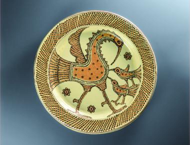 舩木研兒《 淡黄釉鳥絵大鉢 》 1970年代 益子陶芸美術館蔵