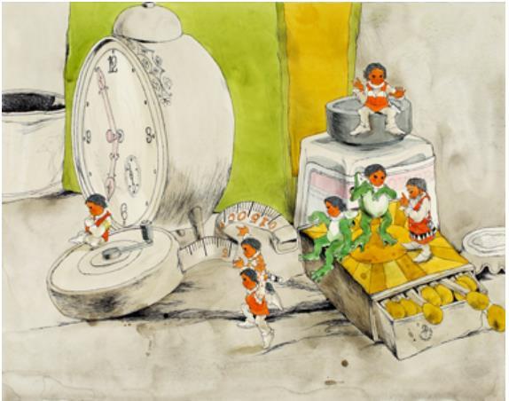 村上勉画『だれも知らない小さな国』装幀(函)原画 1969年(昭和44)11月 講談社 当館蔵