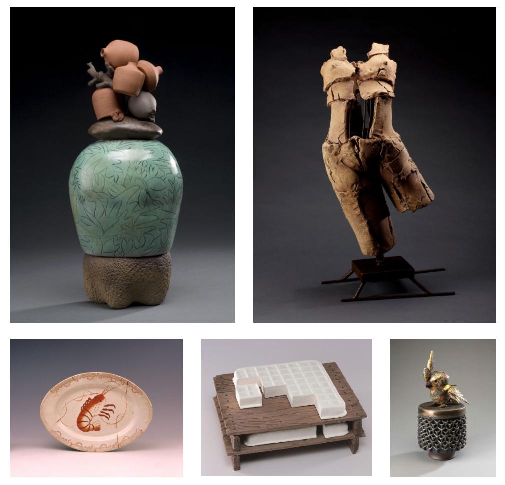 左上から時計回りに:楊文霓《刻紋彩陶經瓶》1995年、許偉斌《皮相》1998年、許旭倫《衛戍》2018年、陳景亮《豆腐》2001年、《蝦盤》1960年 すべて新北市立鶯歌陶瓷博物館蔵