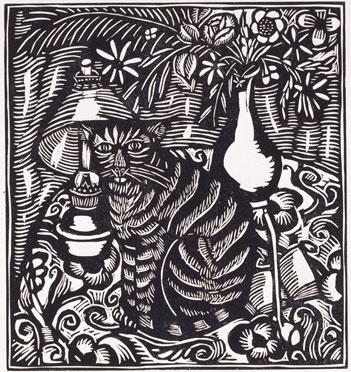 ラウル・デュフィ『動物詩集あるいはオルフェウスのお供たち』(ギョーム・アポリネール著)より《猫》 1911年刊行 群馬県立館林美術館蔵
