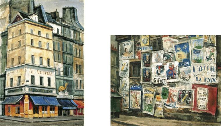 《金のかたつむり》1978年 稲沢市荻須記念美術館蔵 ©ADAGP, Paris & JASPAR, Tokyo, 2021 E4062  《ポスターの壁》1930年 ©ADAGP, Paris & JASPAR, Tokyo, 2021 E4062