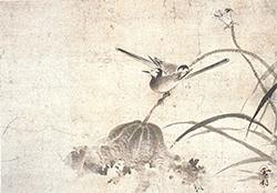 雪村「敗荷鶺鴒図」 室町時代(16世紀)茨城県立歴史館蔵