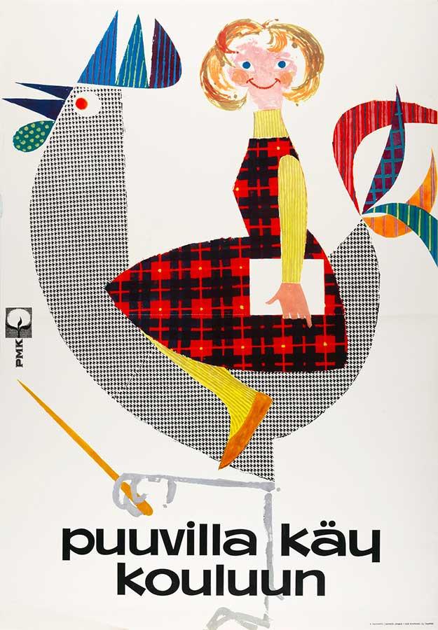 キンモ・カイヴァント作 「コットンを着て学校に行こう」 ポスター(1962年) タンペレ歴史博物館所蔵