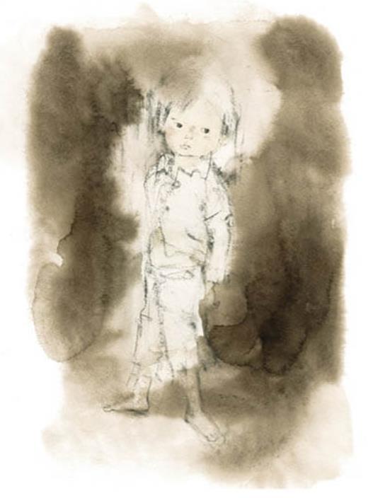 いわさきちひろ たたずむ少年『戦火のなかの子どもたち』(岩崎書店)より 1972年