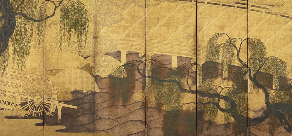 Ⅳ 重要美術品 柳橋水車図屏風(左隻) 長谷川等伯 桃山時代 香雪美術館