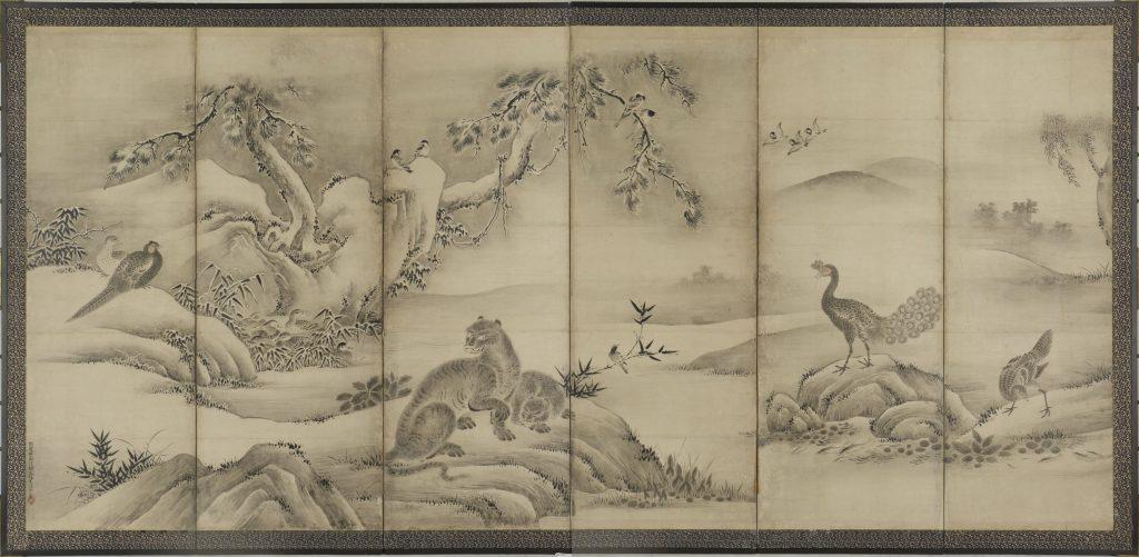 四季花鳥図屏風 左隻(泰巖歴史美術館蔵)【前期】