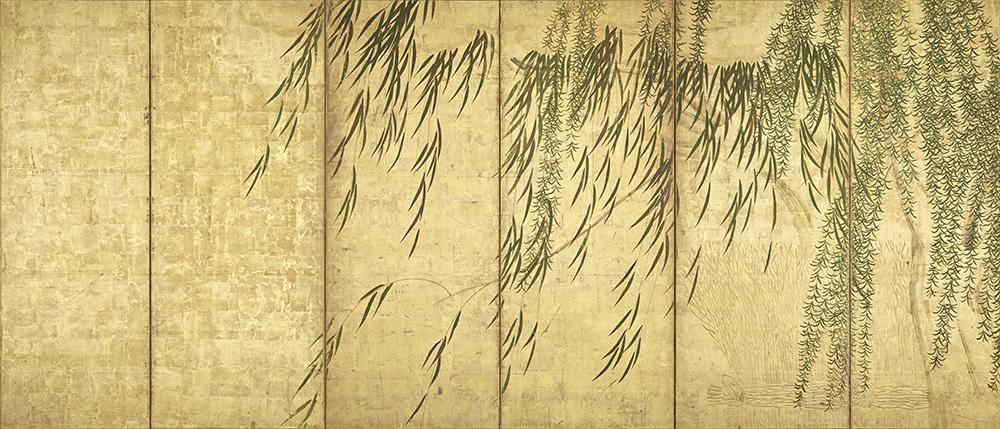 Ⅳ 四季柳図屏風(右隻) 長谷川等伯 桃山時代 個人蔵