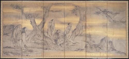 〔重要文化財〕仙人高士図屏風 右隻(京都国立博物館蔵)【前期】