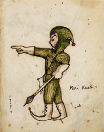 佐藤画「クリ・クル」  17歳ころに描いた小人。「コロボックル物語」につながる初期習作「失くした帽子」「手のひら島の物語」の中で、小鬼と対決する小人のモチーフとなる絵。当館蔵・佐藤さとる文庫