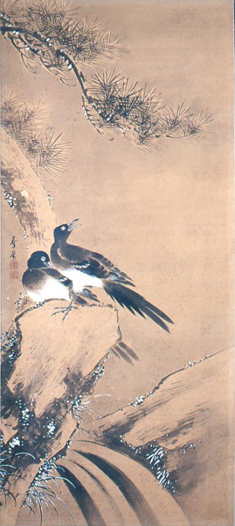 矢島群芳《四季花鳥図》4 幅対のうち冬  高崎市タワー美術館蔵 後期展示