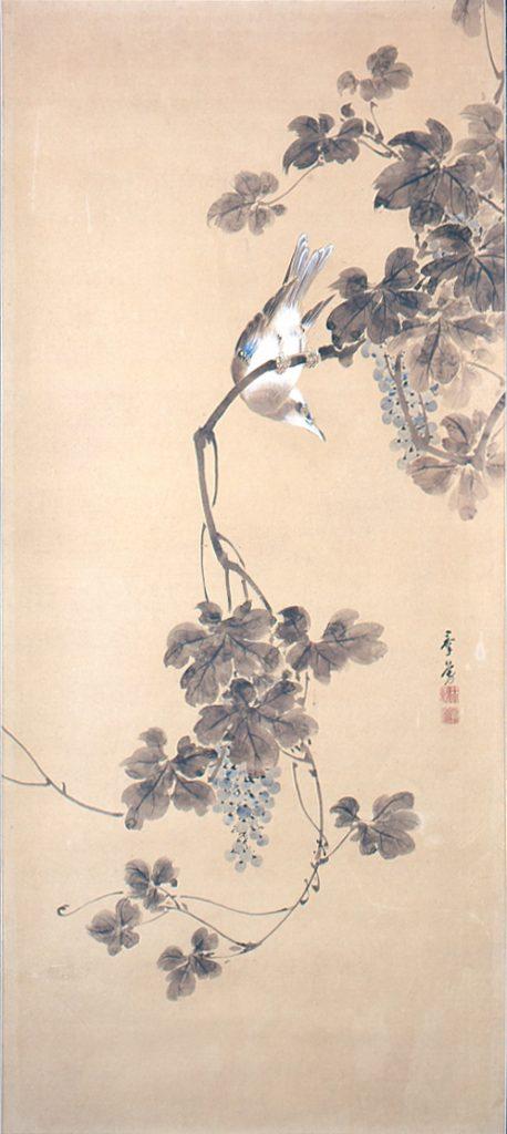 矢島群芳《四季花鳥図》4 幅対のうち秋  高崎市タワー美術館蔵 後期展示
