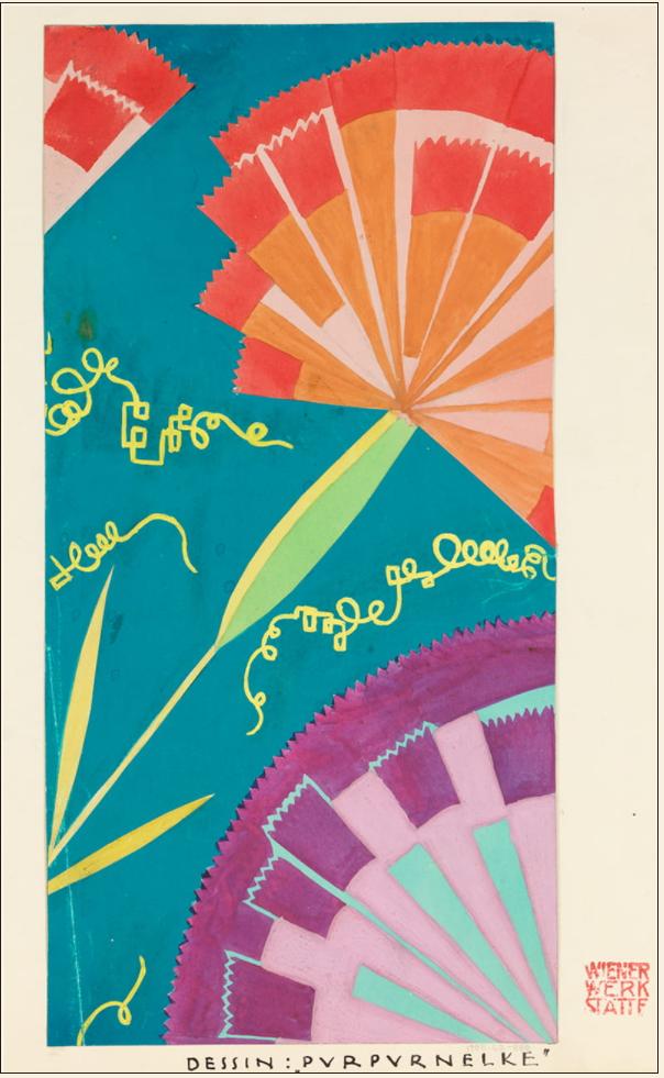 《ウィーン工房テキスタイル・デザイン:紫カーネーション》1924年