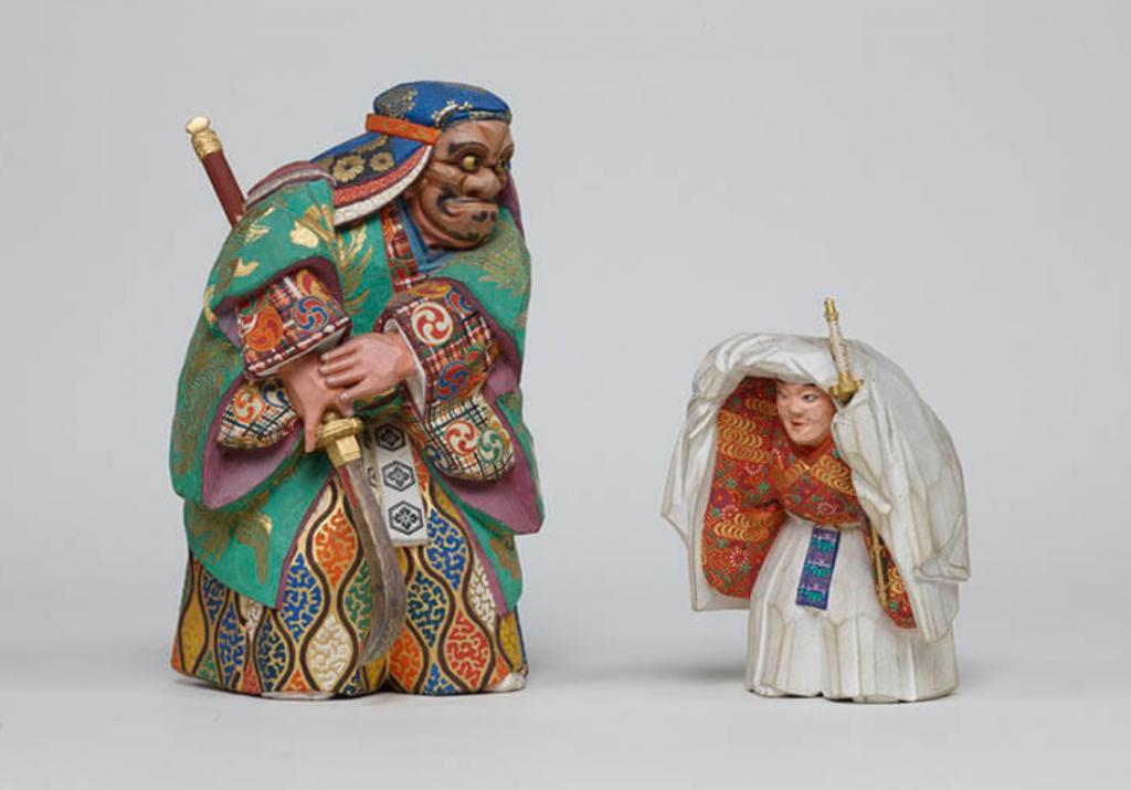 能人形 牛若・熊坂(のうにんぎょう うしわか・くまさか)森川杜園 明治時代(19 世紀)東京国立博物館蔵