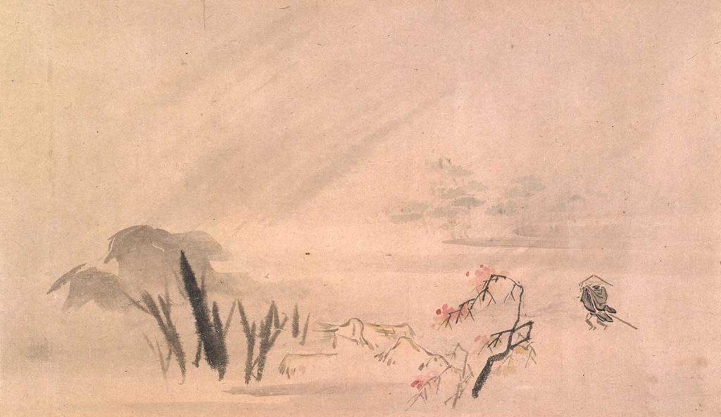 松尾芭蕉筆 「旅路の画巻(三画一軸の内)」(部分) 江戸時代中期(17世紀) 柿衞文庫蔵